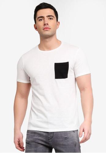 OVS white Slub T-Shirt With Pocket FBEB7AAB6B1849GS_1