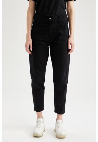 DeFacto black High Waist Cotton Trousers 6A7F5AAE5FF6B6GS_1