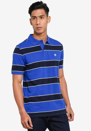 Timberland blue Millers River Yarn Dye Stripe Pique Polo Shirt C0F04AA0E5452CGS_1