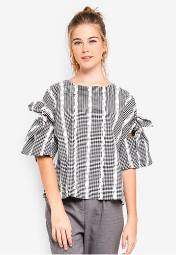 ESPRIT black Woven Short Sleeve Blouse BF541AA38ADCE2GS_1