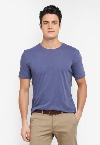 Sisley 藍色 竹節棉基本款短袖T恤 45F2BAAD80F1DEGS_1