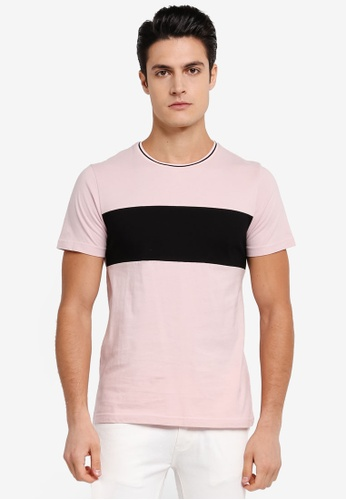 ZALORA pink Striped Collar Panel Tee 0C981AA6669D29GS_1