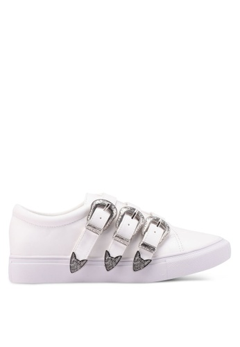 Something Borrowed white Vintage Buckled Sneakers 9FF53SH684B5C3GS_1
