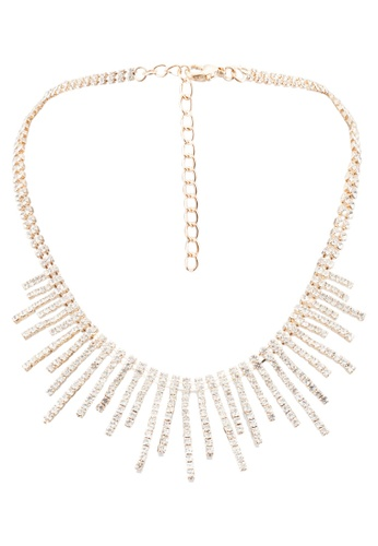 Red's Revenge gold Diamante Rays Mesh Necklace RE144AC0RRSLMY_1