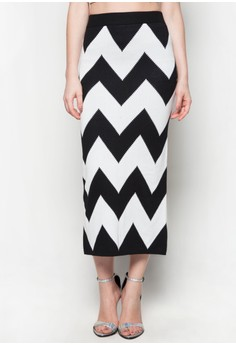 Maxi Knitted Skirt Zigzag Printed Design