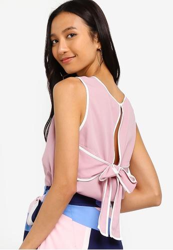 ZALORA 粉紅色 滾邊蝴蝶結上衣 36D23AAA013556GS_1