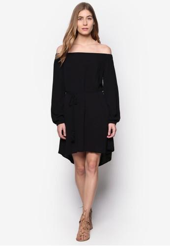 Indesprit hk storei 平口露肩長袖束腰洋裝, 服飾, 洋裝