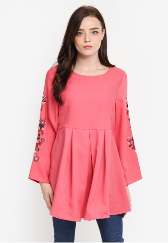 BYN pink Embroidered Sleeve Top C7C5FAAD069D74GS_1