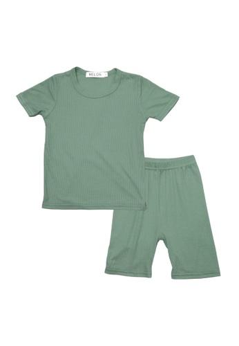 MELON green COTTON RIBBED LOUNGEWEAR SET, OLIVE GREEN 5263DKA3A79889GS_1