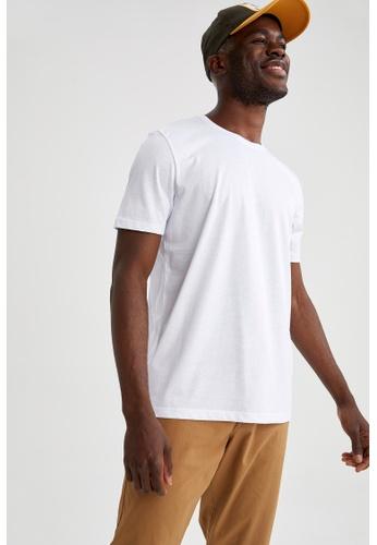 DeFacto white Short Sleeve Round Neck Cotton Basic T-Shirt 8B21EAAE67FFC4GS_1