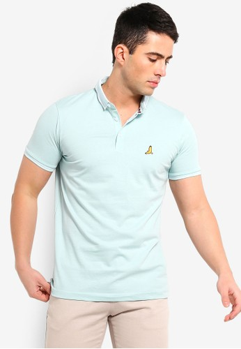 Brave Soul green and multi Split Hem Polo Shirt 62BFBAA61AD08FGS_1