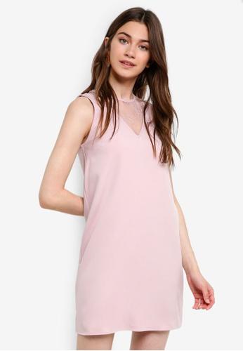 Something Borrowed pink Lace Panel Sleeveless Shift Dress 089B7AA2B7661EGS_1