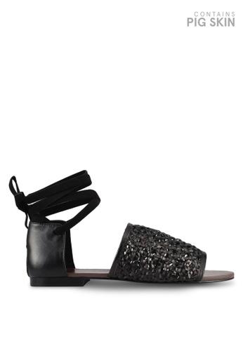 E8 by Miista 黑色 閃亮繞踝綁帶涼鞋 E8283SH0STISMY_1