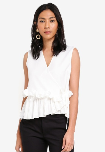 bYSI white Pleated Ruffle Trim Wrap Top 180D4AAAAF175AGS_1