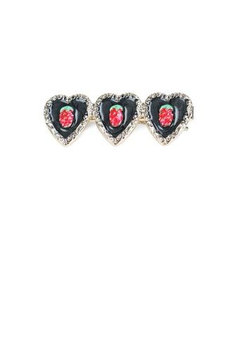 Glamorousky silver Fashion Simple Plated Gold Strawberry Black Heart-shaped Hair Clip B4C99ACFF38E2DGS_1