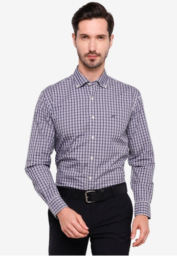 Sacoor Brothers navy Slim fit high performance shirt 5F7DAAAF1D9C14GS_1