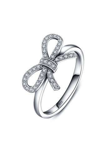 Fur Nyce silver Bow knot Cubic Zirconia Sterling Silver Ring SSR0012 FU779AC24CVVMY_1
