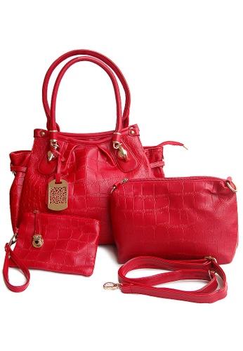 LULUGIFT red Red Fushion Plate Bag 3in1 Set LU989AC79IWYMY_1
