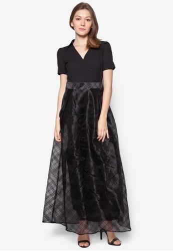 假兩件網紗長洋zalora 評價裝, 服飾, 洋裝