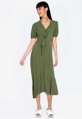 ZALORA BASICS 綠色 Tie Front Peplum Hem Midi Dress 93C65AADBA1454GS_1
