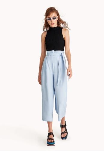 Pomelo blue Pleated Tie Waist Trousers - Blue E38B8AA3ECB7CFGS_1