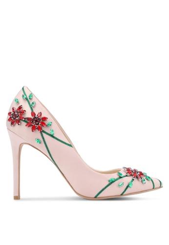 ZALORA pink Floral Beaded Satin Heels E9A17ZZ236B9BFGS_1