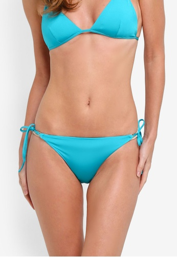 TOPSHOP green Shiny Ring Tieside Bikini Bottoms C1946AA9E45D58GS_1