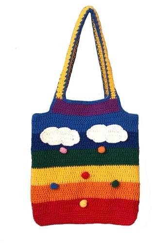 Sunnydaysweety multi Rainbow Knitted Tote Bag A092516 C3778AC4C4370FGS_1
