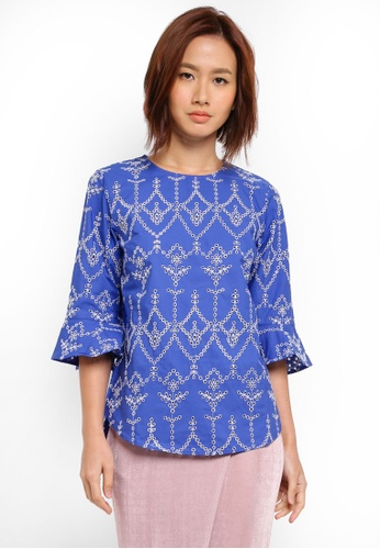 WAREHOUSE blue Cutwork Top 90087AA2A52098GS_1