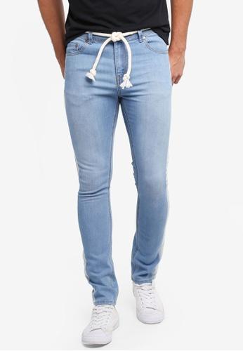 Penshoppe 藍色 抽繩窄管牛仔褲 C7F67AA3EA5D3EGS_1