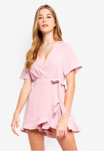 MISSGUIDED pink Wrap Over Playsuit 6A0C8AADB7BE95GS_1