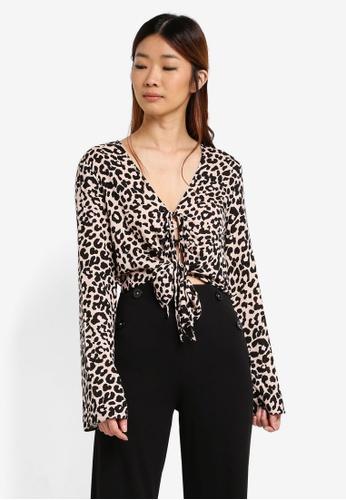 Miss Selfridge multi Animal Tie Front Blouse ECA89AA617F8DDGS_1