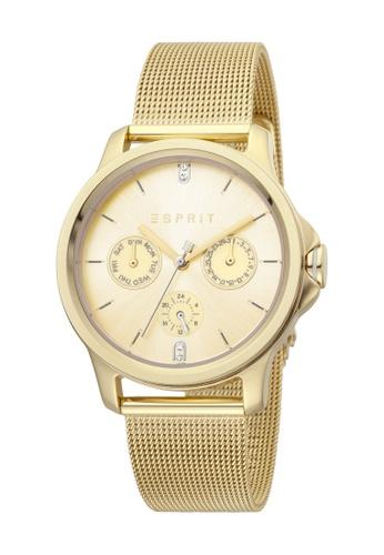 Esprit gold ESPRIT [Turn] 36mm Gold Stainless Steel Mesh Band Women Watch [ES1L145M0075] 29567ACAB35B7FGS_1
