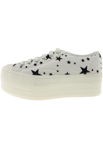Maxstar 白色 新款韩国鞋C50-6H-Star時尚帆布布混合女白色 US Women Size MA345SH79GUATW_1