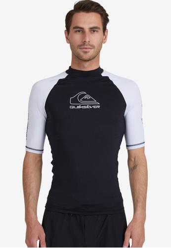 Quiksilver black On Tour Short Sleeves Rashguard F189DAA03612D4GS_1