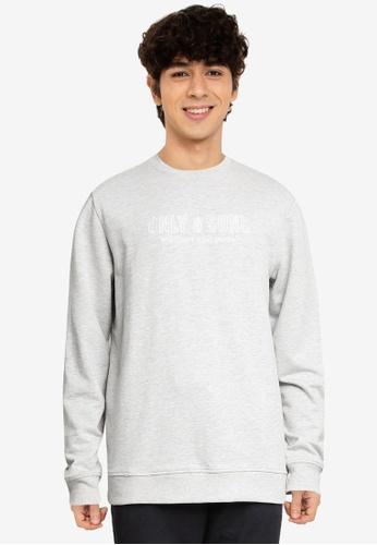 Only & Sons grey Logo Crew Neck Sweatshirt C9FE6AA9B892A1GS_1