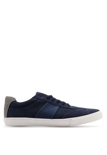 Topman 海軍藍色 麂皮復古運動鞋 98B0ESH48DD5AAGS_1