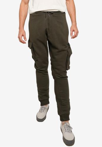Burton Menswear London green Khaki Cargo Zipped Joggers 7CD43AA03C0275GS_1
