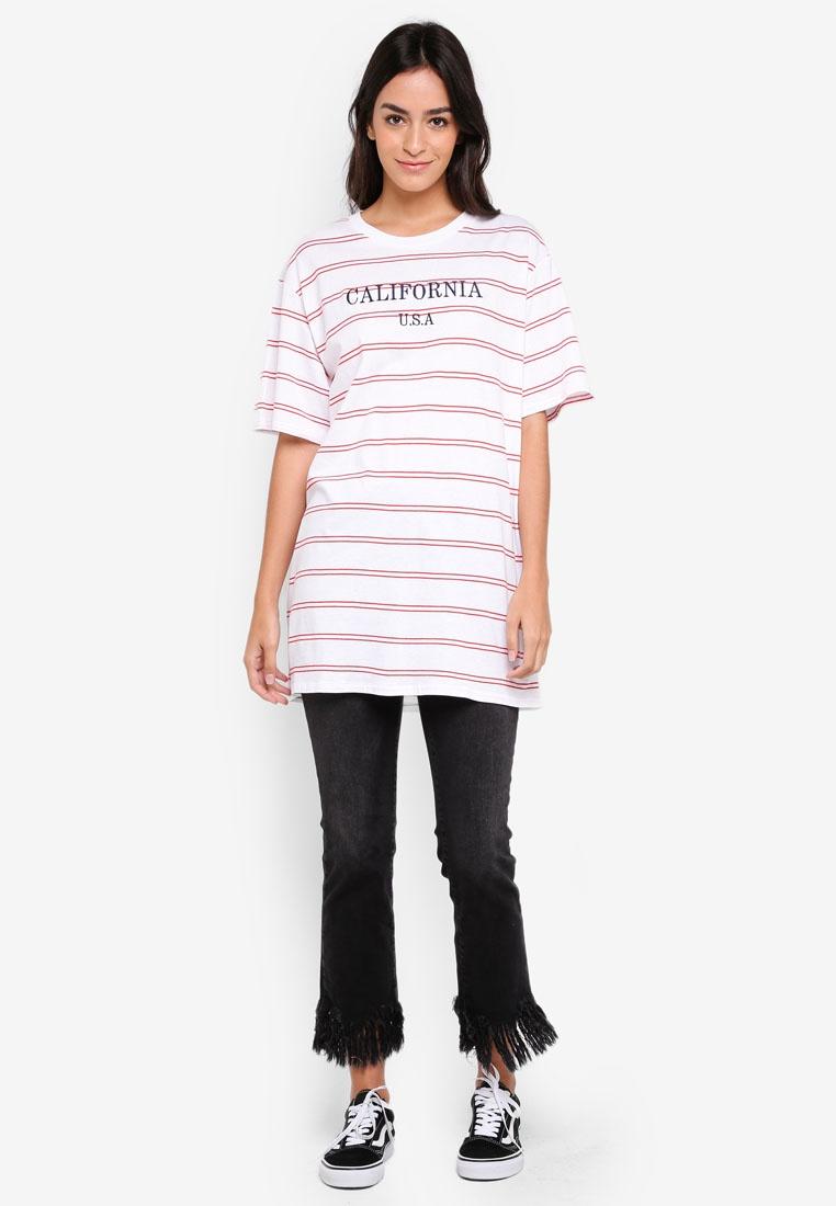 California Cotton Graphic Flame White Boyfriend Scarlet On Stripe Tee The rOWSHxXAnO