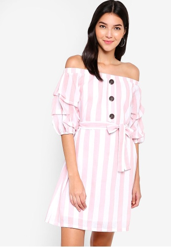 ZALORA red and multi Self Tie Off Shoulder Dress 62930AACB36FE3GS_1