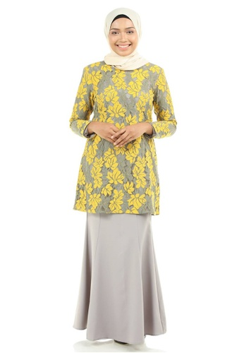 Ashura grey and yellow and multi Zayeda Kurung with two tone color lace  4A06CAA3F40DE9GS 1 f52fe2d67