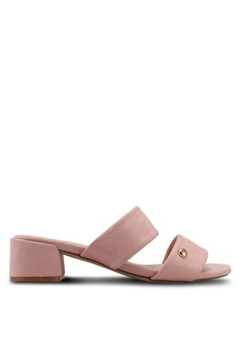 Nose 米褐色 Double Strap Block Heel Slide Sandals C5364SH446071EGS_1
