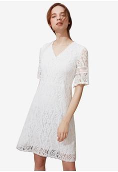 05ed27ff4f19 Hopeshow white V-neck Flare Lace Dress DE693AAA8F5328GS 1