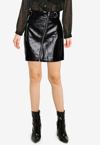 French Connection black Dia PU Mini Skirt 575E7AABCDF4E2GS_1