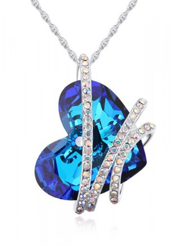 LOVENGIFTS blue Royal Blue Collection Heart Waves Pendant Necklace 63F04ACF01D64FGS_1