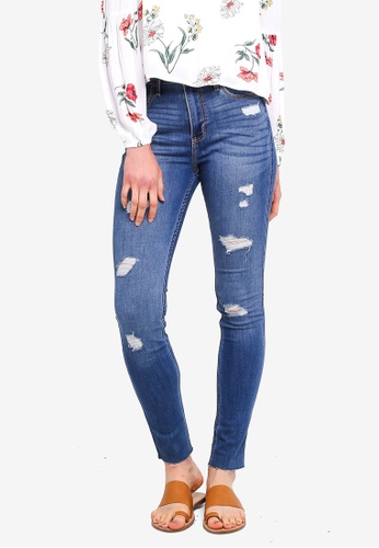 Hollister blue Medium Mid Destroy Superskinny Jeans 34072AA9ECCC24GS_1