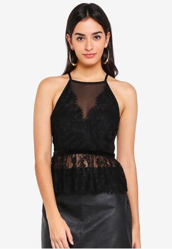 Miss Selfridge black Petite Black Lingerie Mesh Cami Top 80E1FAAB81FA24GS_1