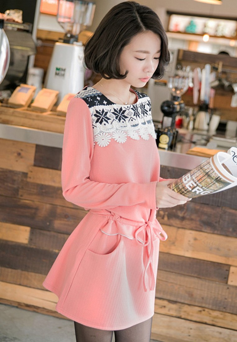 [IMPORTED] Snowflake Sensation Drawstring Dress – Pink