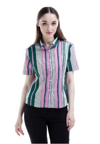 Evernoon green Azalea Short Shirt Atasan Wanita Motif Salur Warna Kombinasi Polo Neck Fashionable - Hijau A400BAA5B83902GS_1
