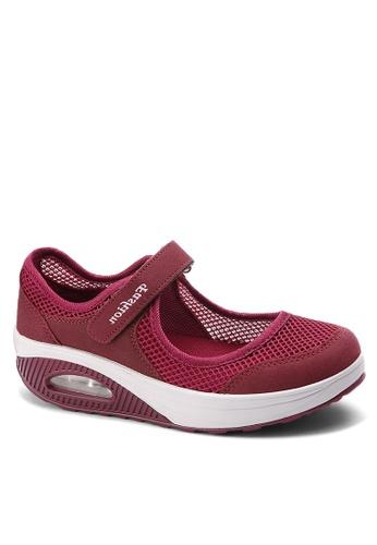 Twenty Eight Shoes 紅色 單橫帶網布搖搖鞋 VC699 AA340SHBE2920BGS_1